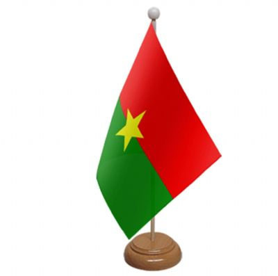 BURKINA FASO - TABLE FLAG WITH WOODEN BASE